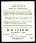 1933 Goudey Reprint #163  Luke Sewell  Back Thumbnail