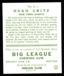 1933 Goudey Reprint #3  Hugh Critz  Back Thumbnail