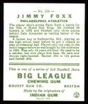 1933 Goudey Reprints #154  Jimmie Foxx  Back Thumbnail
