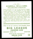 1933 Goudey Reprint #82  Dib Williams  Back Thumbnail