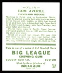 1933 Goudey Reprint #194  Earl Averill  Back Thumbnail