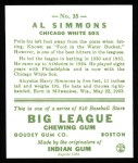 1933 Goudey Reprints #35  Al Simmons  Back Thumbnail