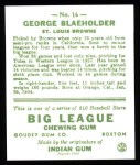 1933 Goudey Reprint #16  George Blaeholder  Back Thumbnail