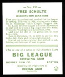 1933 Goudey Reprint #190  Fred Schulte  Back Thumbnail