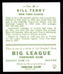 1933 Goudey Reprints #20  Bill Terry  Back Thumbnail