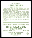1933 Goudey Reprints #93  John Welch  Back Thumbnail