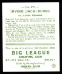 1933 Goudey Reprint #198  Jack Burns  Back Thumbnail