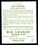 1933 Goudey Reprint #126  Joe Moore  Back Thumbnail