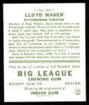 1933 Goudey Reprint #164  Lloyd Waner  Back Thumbnail