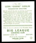 1933 Goudey Reprint #110  Goose Goslin  Back Thumbnail