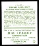1933 Goudey Reprint #87  Frank O'Rourke  Back Thumbnail