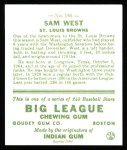 1933 Goudey Reprint #166  Sammy West  Back Thumbnail