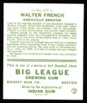 1933 Goudey Reprint #177  Walter French  Back Thumbnail