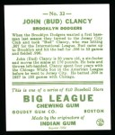 1933 Goudey Reprint #32  Bud Clancy  Back Thumbnail