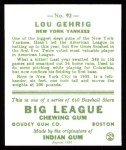 1933 Goudey Reprint #92  Lou Gehrig  Back Thumbnail
