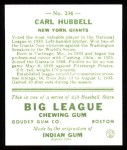 1933 Goudey Reprint #234  Carl Hubbell  Back Thumbnail