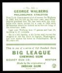 1933 Goudey Reprint #145  Rube Walberg  Back Thumbnail