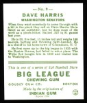 1933 Goudey Reprint #9  Dave Harris  Back Thumbnail