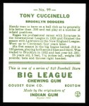 1933 Goudey Reprint #99  Tony Cuccinello  Back Thumbnail