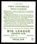 1933 Goudey Reprints #99  Tony Cuccinello  Back Thumbnail