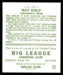 1933 Goudey Reprint #150  Ray Kolp  Back Thumbnail