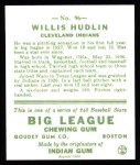 1933 Goudey Reprint #96  Willis Hudlin  Back Thumbnail