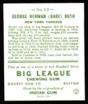 1933 Goudey Reprint #53  Babe Ruth  Back Thumbnail