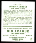 1933 Goudey Reprint #233  Johnny Vergez  Back Thumbnail