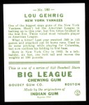 1933 Goudey Reprints #160  Lou Gehrig  Back Thumbnail