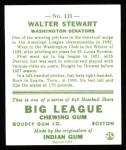 1933 Goudey Reprint #121  Walter Stewart  Back Thumbnail