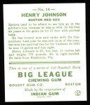 1933 Goudey Reprint #14  Henry Johnson  Back Thumbnail