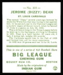 1933 Goudey Reprints #223  Dizzy Dean  Back Thumbnail