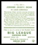 1933 Goudey Reprint #223  Dizzy Dean  Back Thumbnail