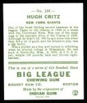 1933 Goudey Reprint #238  Hugh Critz  Back Thumbnail