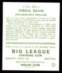 1933 Goudey Reprint #210  Virgil Davis  Back Thumbnail