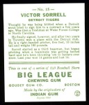 1933 Goudey Reprint #15  Vic Sorrell  Back Thumbnail