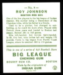 1933 Goudey Reprint #8  Roy Johnson  Back Thumbnail