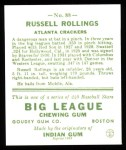 1933 Goudey Reprint #88  Russell Rollings  Back Thumbnail