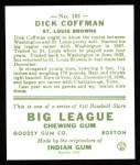 1933 Goudey Reprints #101  Richard Coffman  Back Thumbnail