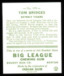 1933 Goudey Reprint #199  Tommy Bridges  Back Thumbnail