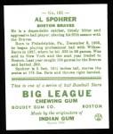 1933 Goudey Reprint #161  Al Spohrer  Back Thumbnail