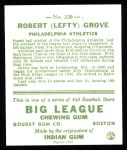 1933 Goudey Reprints #220  Lefty Grove  Back Thumbnail