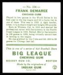 1933 Goudey Reprint #224  Frank Demaree  Back Thumbnail
