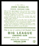 1933 Goudey Reprint #186  John Schulte  Back Thumbnail
