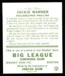 1933 Goudey Reprint #178  Jack Warner  Back Thumbnail