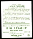 1933 Goudey Reprint #178  Jack Warner  Back Thumbnail