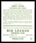 1933 Goudey Reprints #182  Andy High  Back Thumbnail
