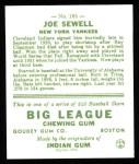1933 Goudey Reprint #165  Joe Sewell  Back Thumbnail