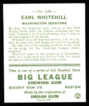 1933 Goudey Reprint #124  Earl Whitehill  Back Thumbnail