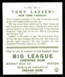 1933 Goudey Reprint #31  Tony Lazzeri  Back Thumbnail